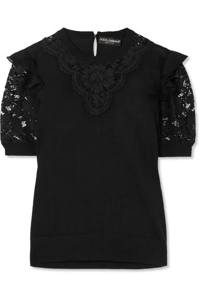 Dolce & Gabbana Ruffled Georgette-trimmed Lace And Wool-blend Top In Black
