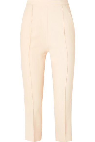 Khaite Bridget Cropped Stretch-twill Straight-leg Pants In Cream