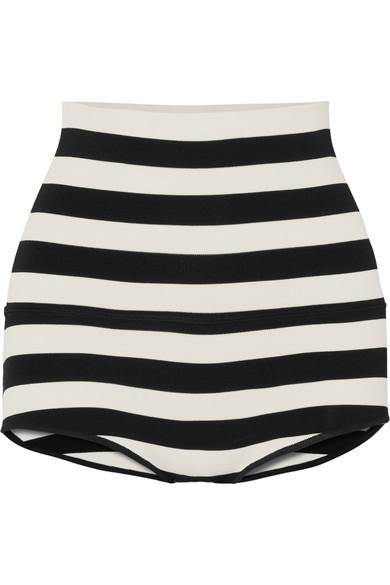 Khaite Brigette Striped Stretch-jersey Shorts In Black