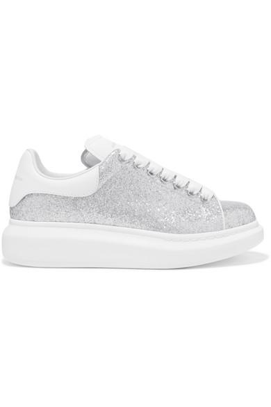 Alexander Mcqueen Glittered Leather Exaggerated-sole Sneakers In Silver