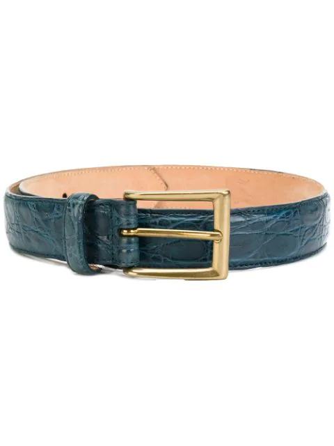 Liska Textured Style Buckle Belt In Blue