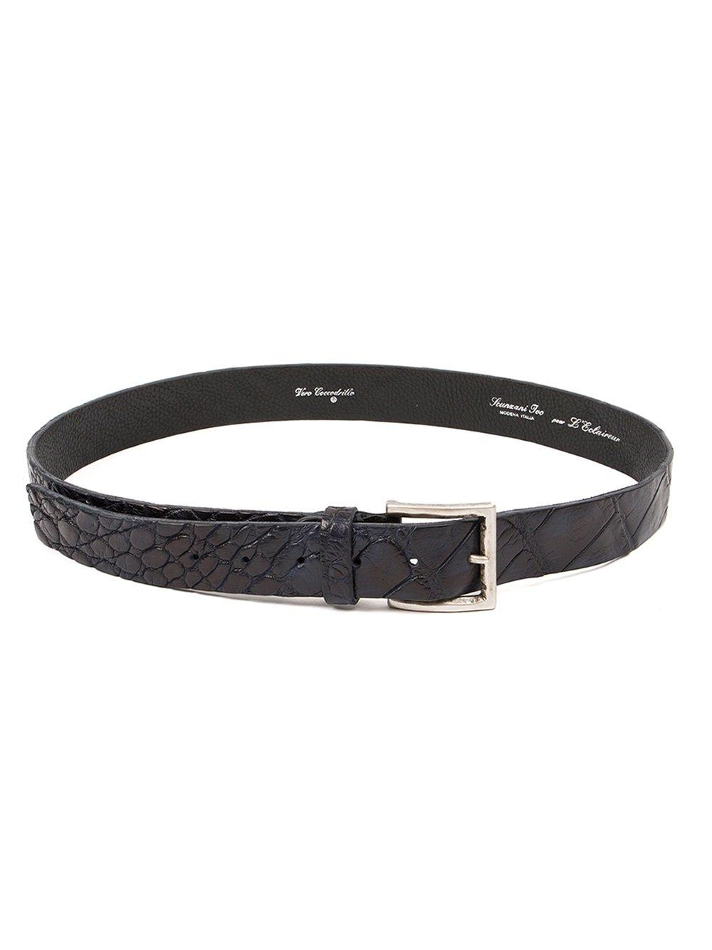Ivo Scunzani Crocodile Leather Belt In Black