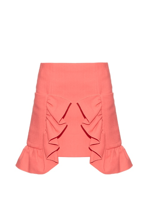 Marni Ruffled Cotton-Blend Crepe Skirt In Pink