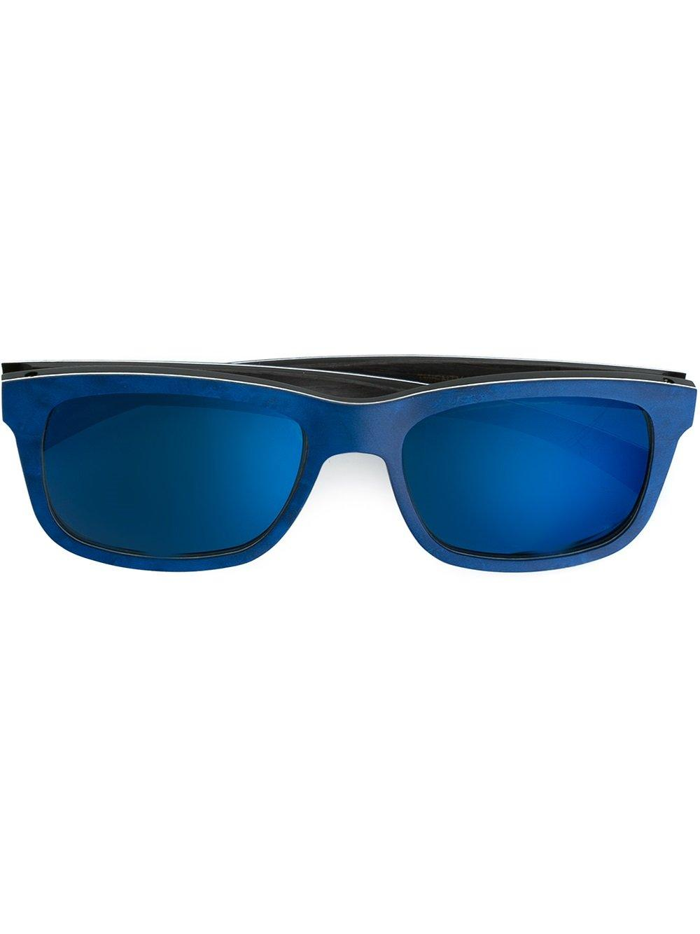 Gold And Wood Mirror Sunglasses In Blue