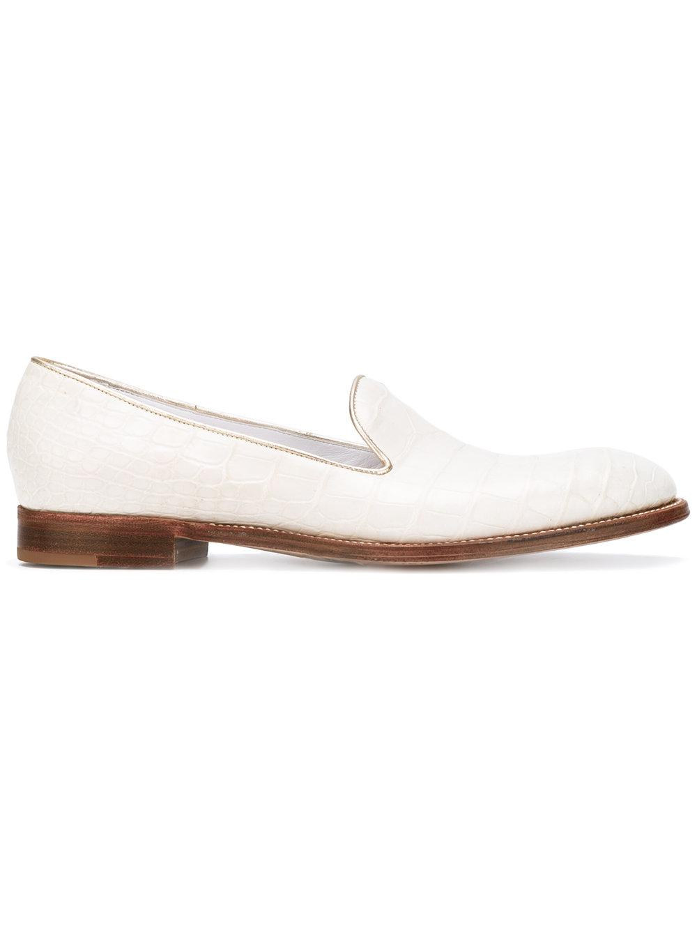 Silvano Lattanzi Metallic Trim Slippers In White