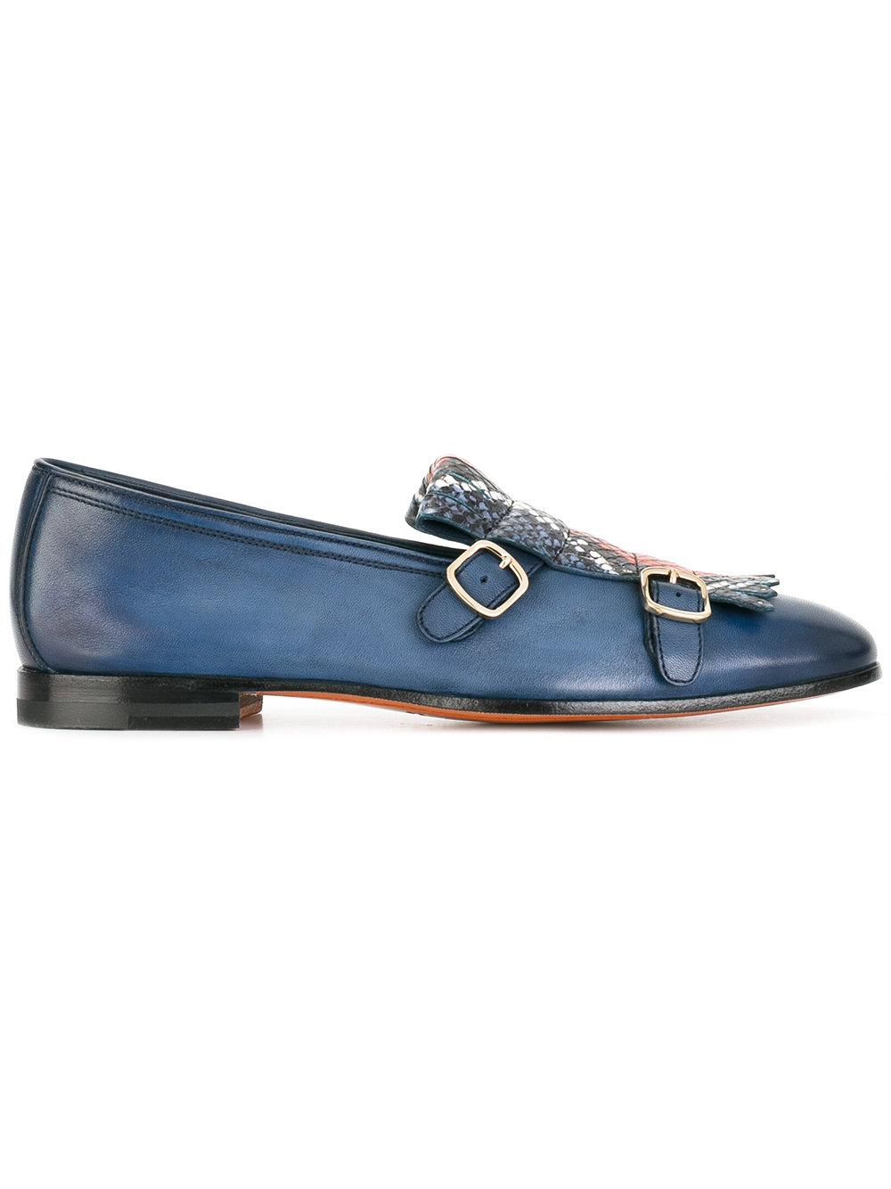Santoni Fringed Loafers In Blue