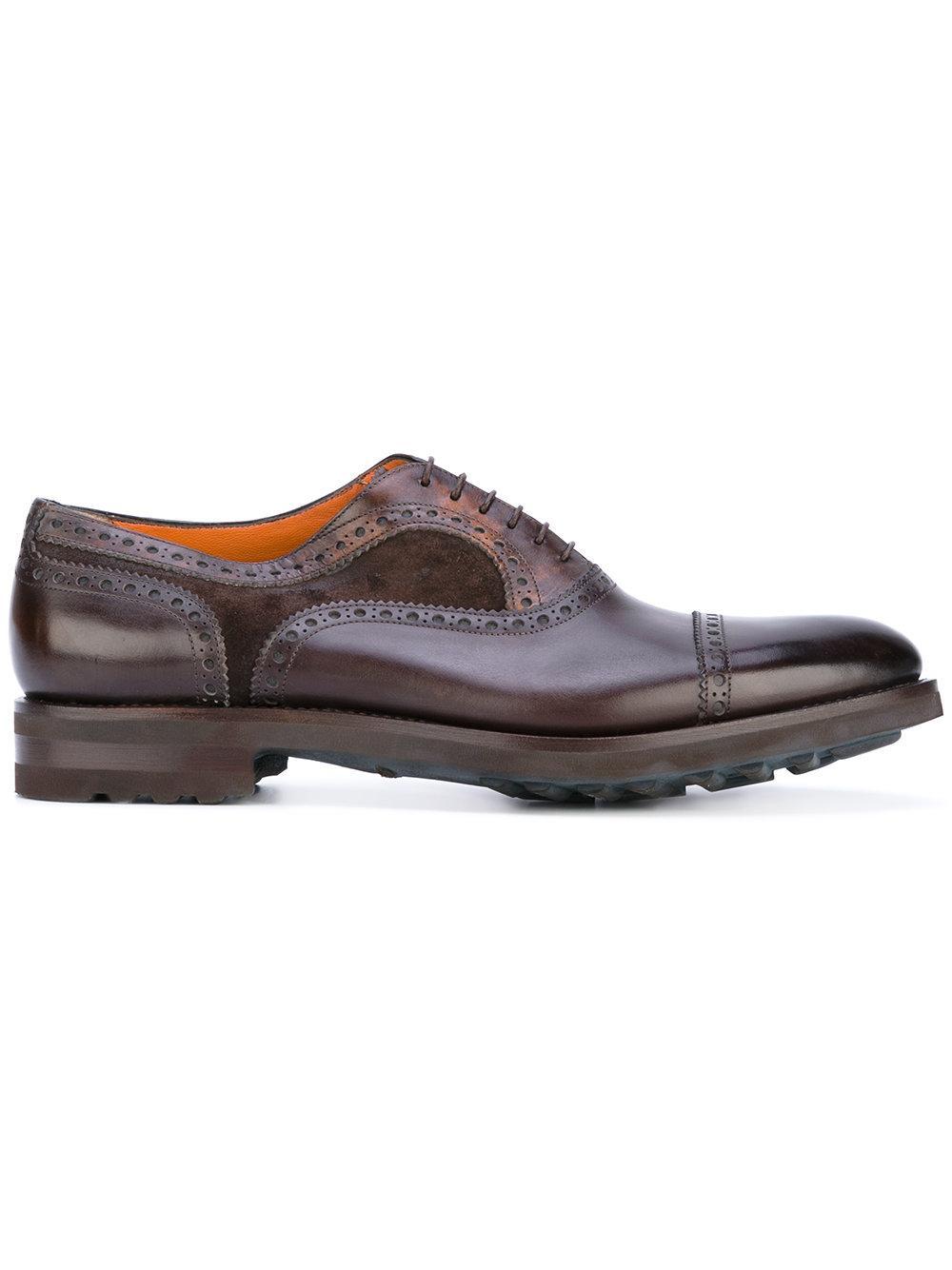 Santoni 'goodyear Bologna' Flexible Oxford Shoes - Brown