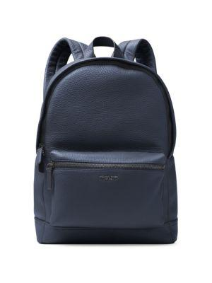 Michael Kors Bryant Pebble-textured Leather Backpack In Navy