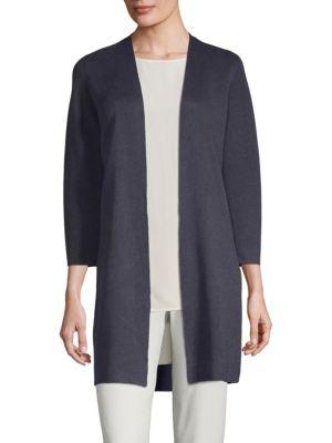 Eileen Fisher Simple Open Front Cardigan In Salt Lake