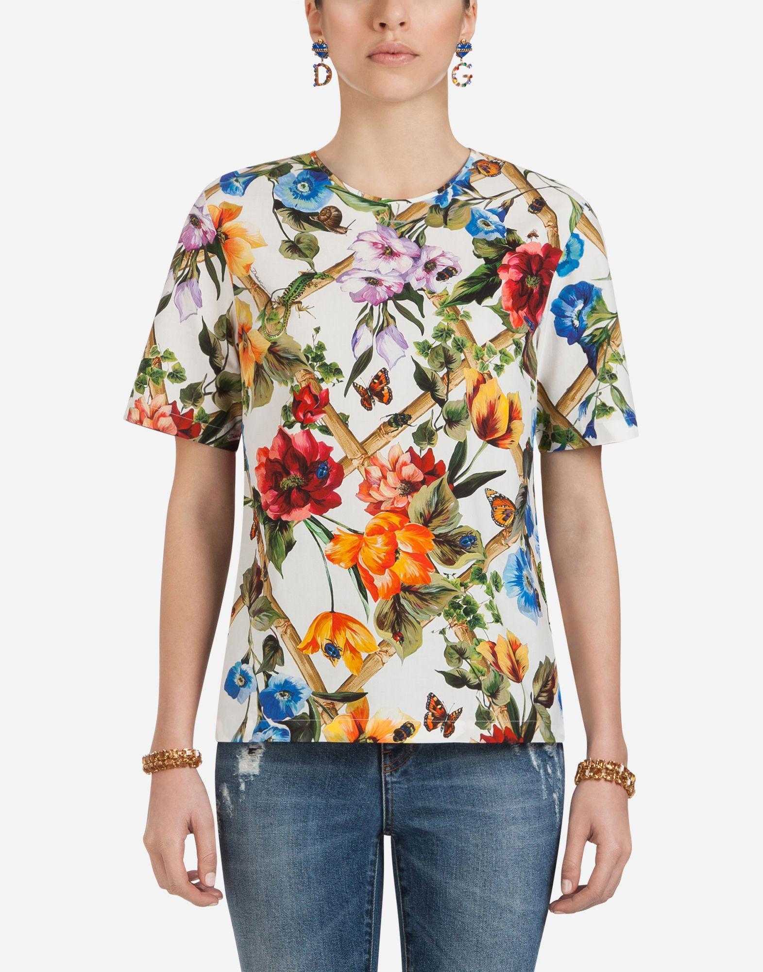Dolce & Gabbana Printed Cotton Top In Multicolor