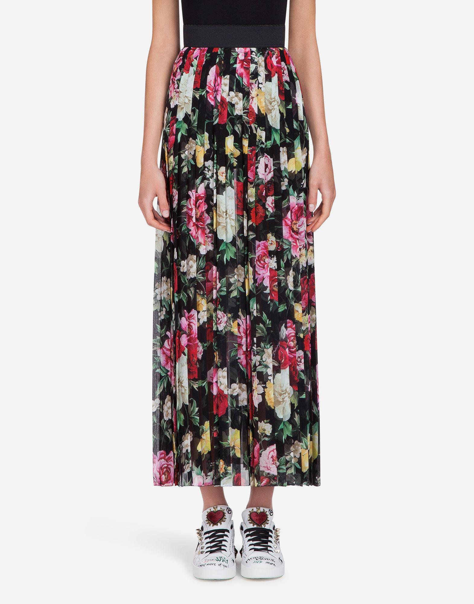 Dolce & Gabbana Printed Skirt In Silk Georgette In Black