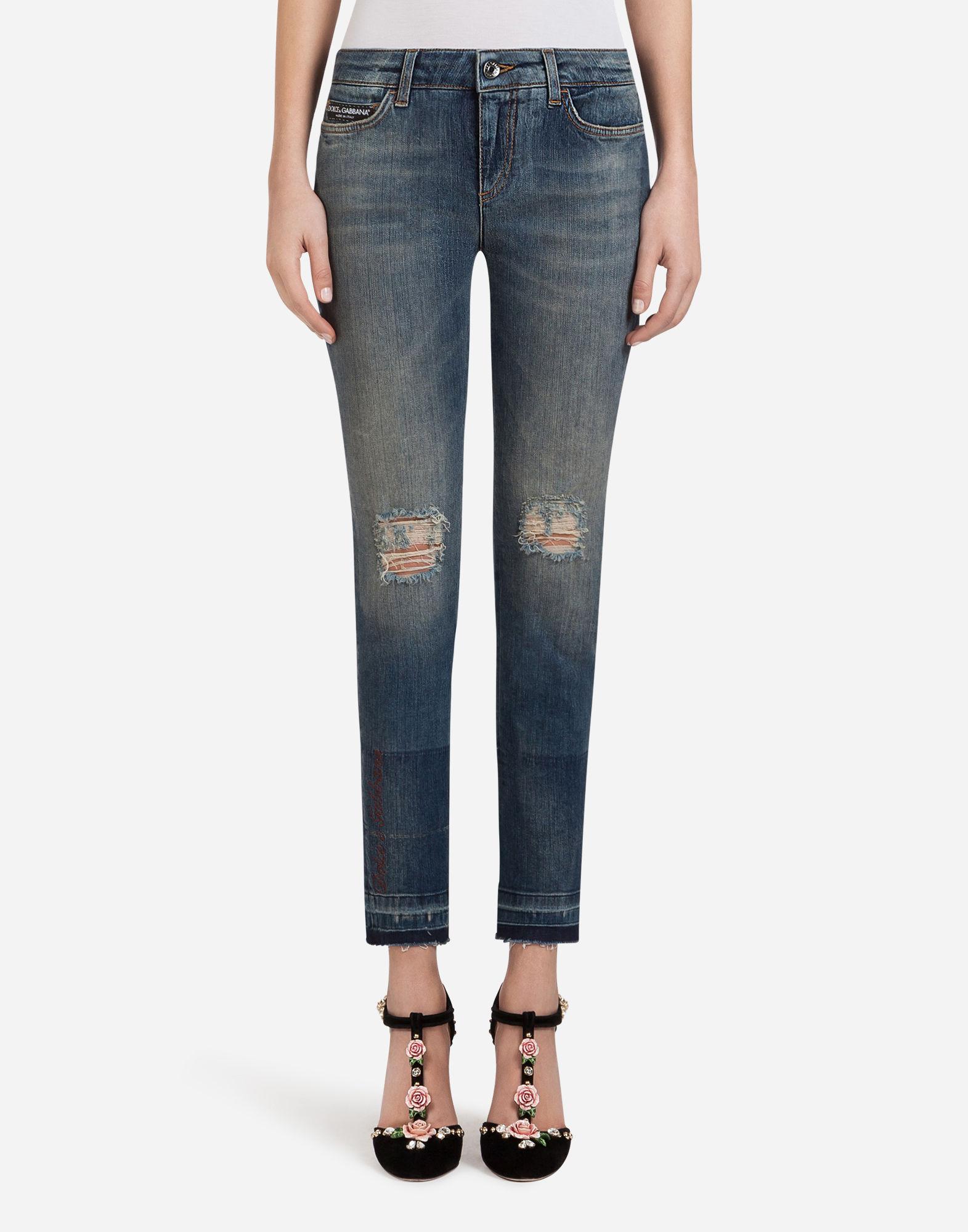 Dolce & Gabbana Denim Stretch Fit Pretty Jeans With Patch Label In Blue
