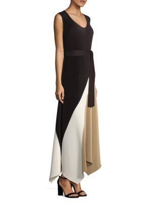 Lafayette 148 Celia Pleated Asymmetric Dress In Black Multi