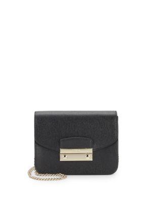 Furla Julia Mini Saffiano Leather Crossbody In Onyx Petal