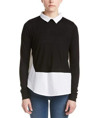French Connection Contrast Top In Black