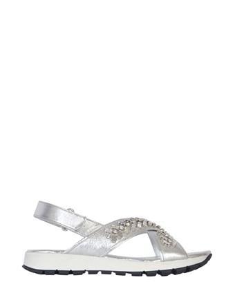 Prada Women's  Silver Leather Sandals