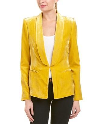 Bcbgmaxazria Velvet Jacket In Yellow