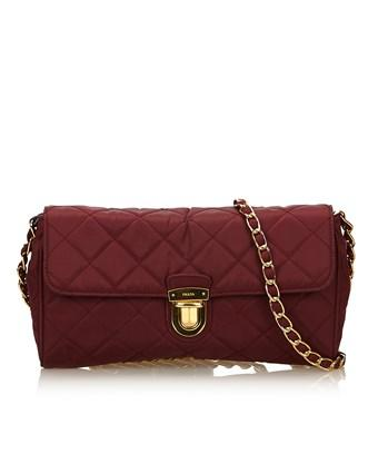 Prada Pre-owned: Tessuto Chain Shoulder Bag In Red X Bordeaux X Gold