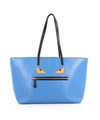 Fendi Pre-owned: Monster Roll Tote Leather Medium In Blue