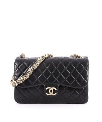 Chanel Pre-owned: Westminster Tangled Pearl Chain Flap Bag Quilted Lambskin Medium In Black