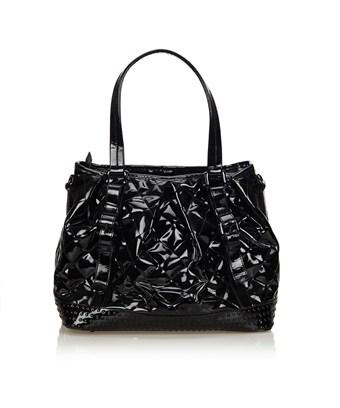 Burberry Pre-owned: Patent Leather Tote Bag In Black
