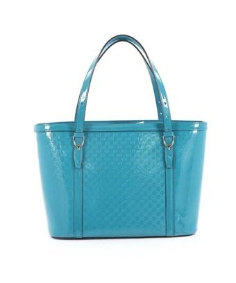 Gucci Pre-owned: Nice Tote Patent Microssima Leather Small In Blue