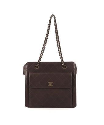 Chanel Pre-owned: Vintage Front Pocket Shoulder Bag Quilted Lambskin Medium In Brown