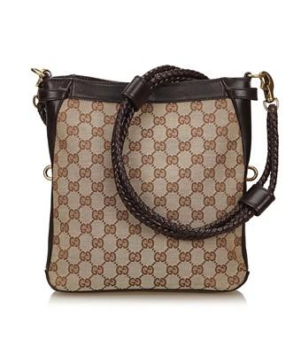 Gucci Pre-owned: Ssima Jacquard Shoulder Bag In Brown X Beige X Brown