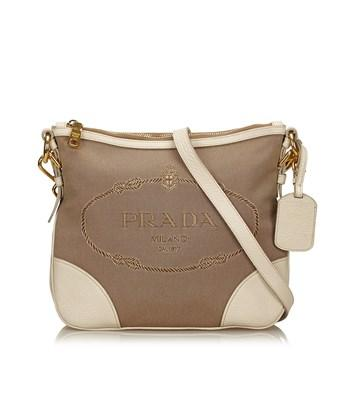 Prada Pre-owned: Logo Jacquard Shoulder Bag In Brown X White X Ivory