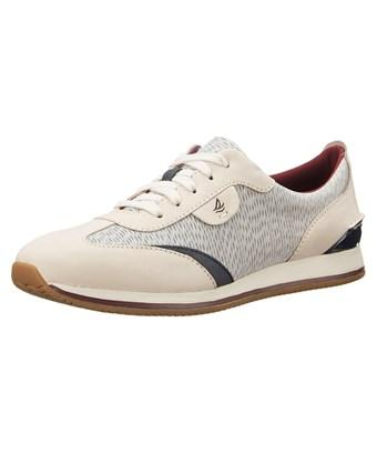 Sperry Womens Tidal Trainer Leather Low Top Lace Up Fashion Sneakers In White