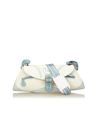 Dior Pre-owned: Canvas Shoulder Bag In White X Ivory X Blue
