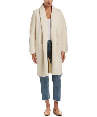 Vince Draped Wool & Yak-blend Robe In White