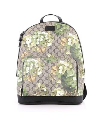 Gucci Pre-owned: Zip Pocket Backpack Blooms Print Gg Coated Canvas Medium In Brown