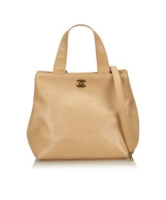 Chanel Pre-owned: Leather Tote In Brown X Beige
