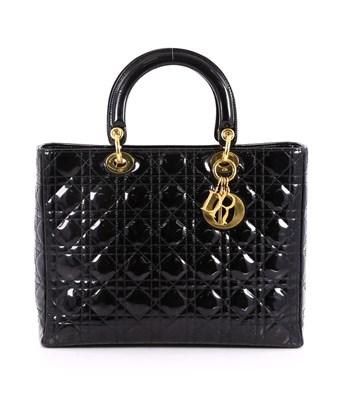 Dior Pre-owned: Lady  Handbag Quilted Cannage Patent Large In Black