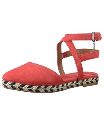 Coach Womens Ozzie Suede Pointed Toe Casual Ankle Strap Sandals In Red