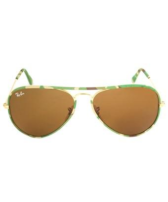 Ray Ban Ray-ban Rb3025jm 169 Sunglasses | Gold/green Camo Frame | Brown Lens | 58mm