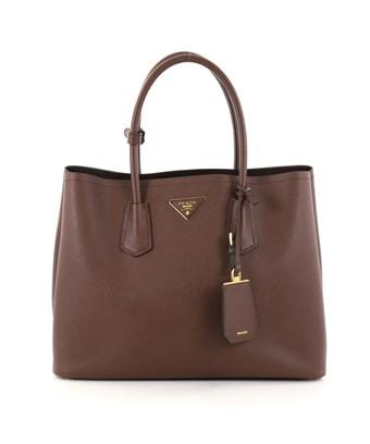 Prada Pre-owned: Cuir Double Tote Saffiano Leather Medium In Brown