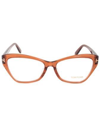 54a95945a5ba Tom Ford Ft 5376 042 Opal Brown Cat-Eye Eyeglasses In Brownish Orange