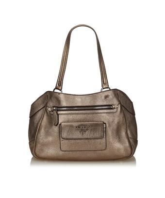 Prada Pre-owned: Metallic Vitello Daino Bag In Gold