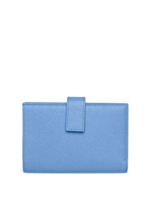 Smythson Panama Leather Small Continental Purse In Nile Blue