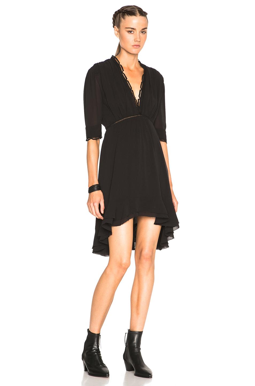 Isabel Marant Quidor Inset Flared Dress In Black