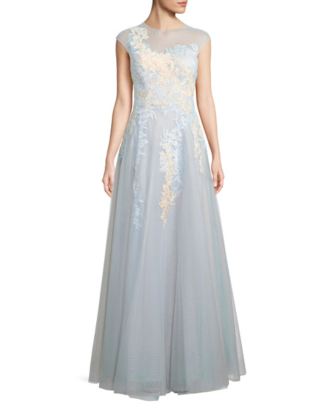 f7e3e1bdeef5 Rickie Freeman For Teri Jon Illusion Short-Sleeve Lace Gown In Powder Blue