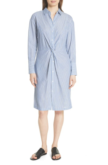 Vince Classic Stripe Twist Cotton Blend Shirtdress In White/ Blue