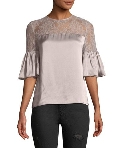 Cami Nyc Shauna Lace-detail Top In Oyster