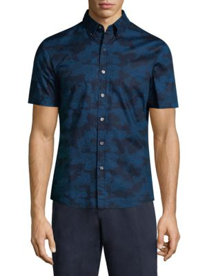 Michael Kors Camouflage Print Slim Fit Button-down Shirt In Midnight
