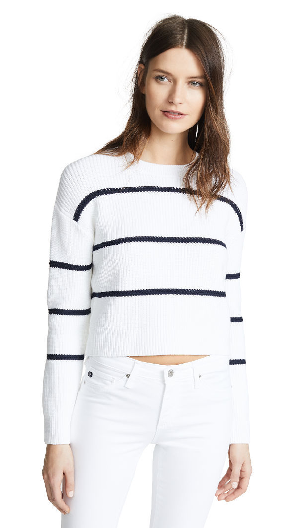 Vince Cotton Blend Rib Knit Stripe Sweater In Optic White/coastal