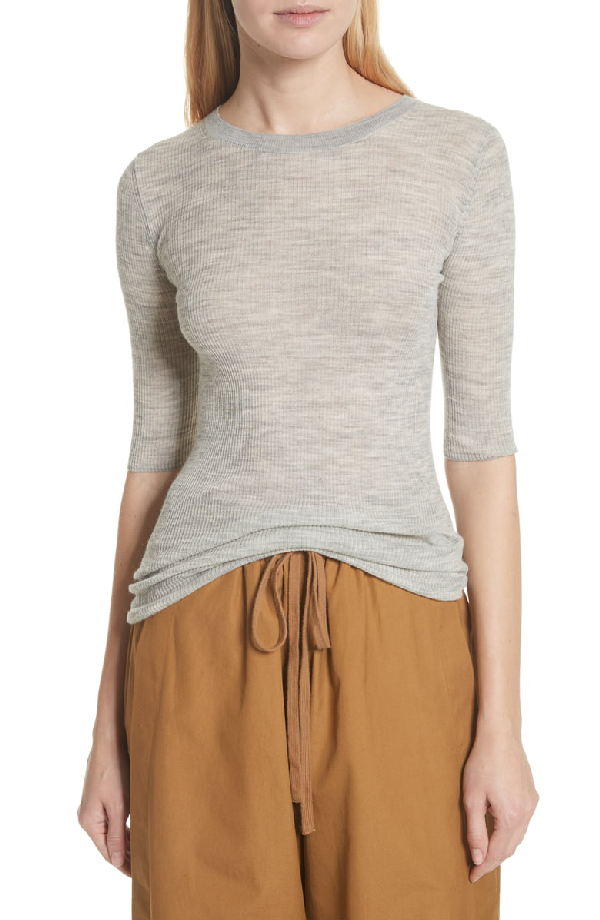 Vince Ribbed Sweater In Light Heather Grey