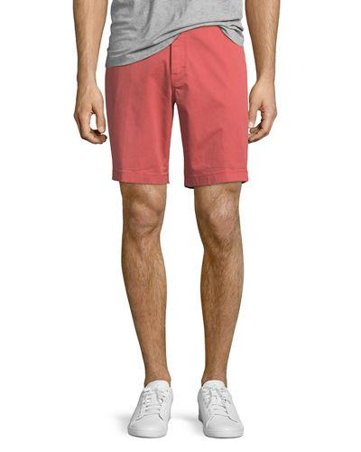 Michael Kors Garment Dyed Stretch Cotton Shorts In Faded Coral