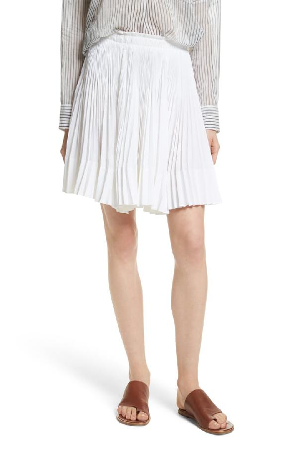 Vince Multi Pleat Skirt In Optic White